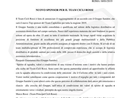 Nuovo Sponsor Tecnico TEAM CICLI ROSSI