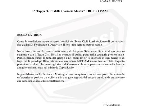 """1^ Tappa """"Giro della Ciociaria Master"""" TROFEO ISAM"""