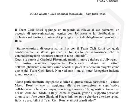 JOLLYWEAR nuovo Sponsor tecnico del Team Cicli Rossi