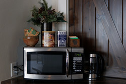 Microwave, tea, and hot chocolate!
