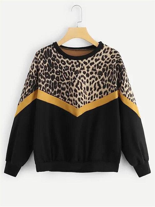 Leopard Pannel Drop Shoulder Sweatshirt