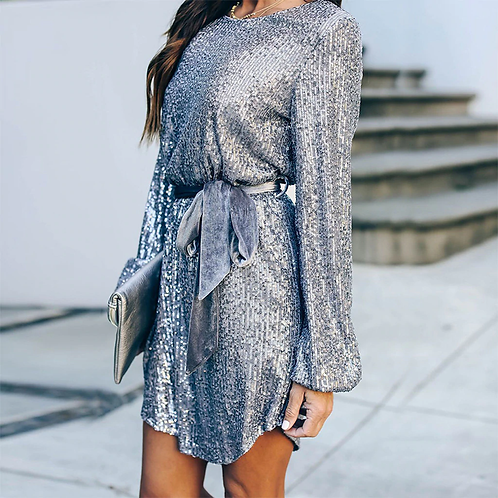 Silver Sequined Party Dresses