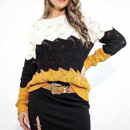 Multi-Color O-neck Sweater