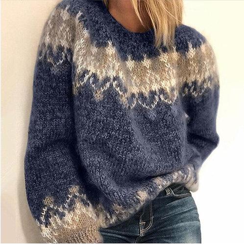 Women Elegant O-Neck Knitted Vintage Sweater