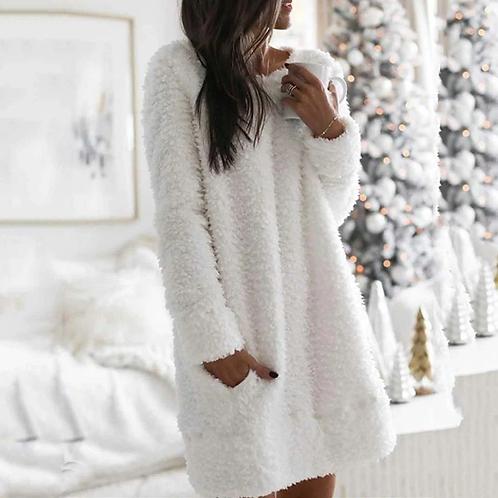 Round Neck Cotton-Blend Casual Plush Dress