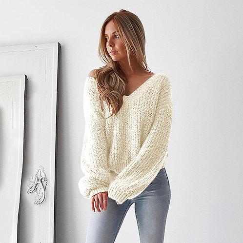 Backless V-neck  Women Sweater