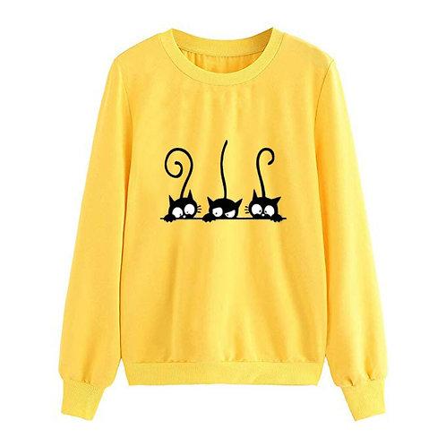 Casual Cat Print Sweatshirt