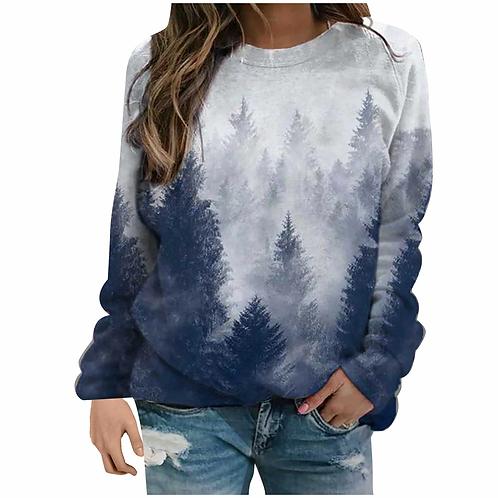 Women's Print Long-sleeved Sweatshirt  Casual Pullover