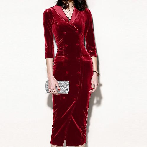 Office Wear Turn-Down Collar BodyCon Dress