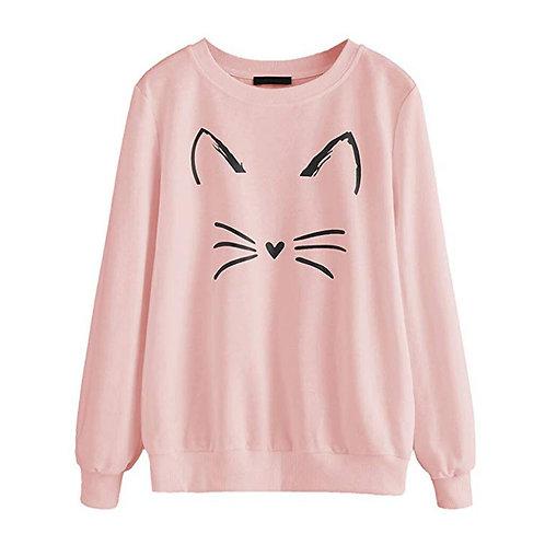 O-Neck Casual Cat Print T-shirt