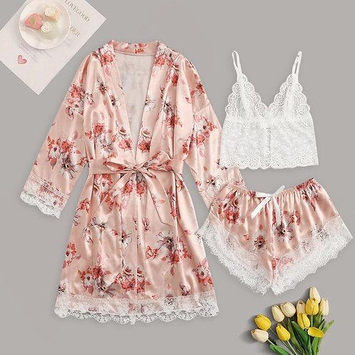 Luxury Floral Peach Lace Lounge Wear