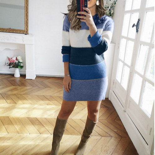 Women Knitted  Mini  Sweater Dress