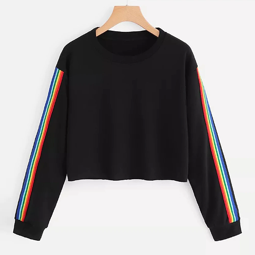 Rainbow Black Cropped Sweatshirt