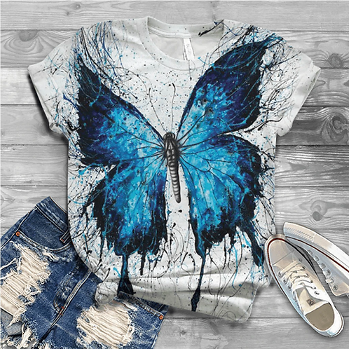 Harajuku Butterfly Printed Graphic Tee