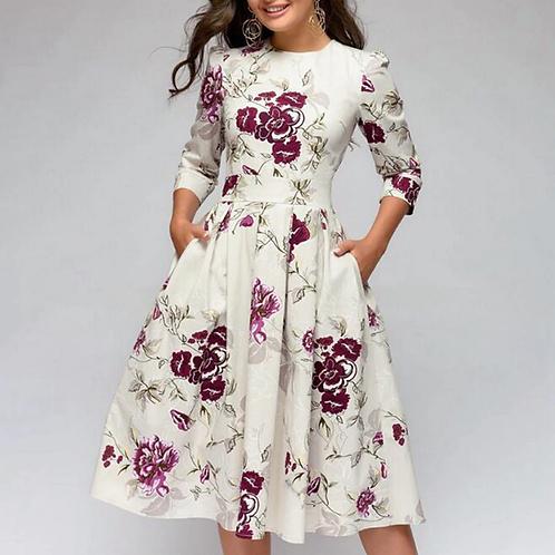 Vintage Floral Knee Length Dress