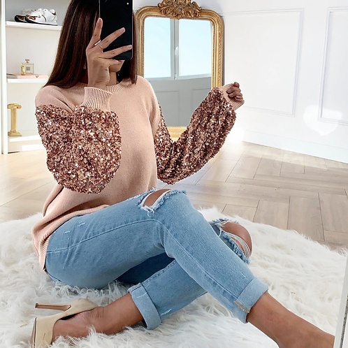 Sequined Lantern Sleeve  Sweater Top