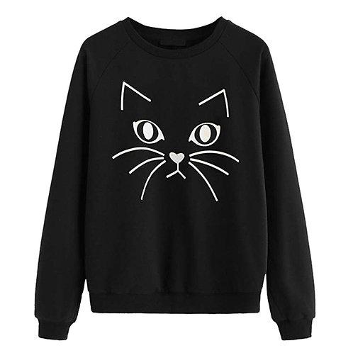 Cat Print Casual O-neck Sweatshirt