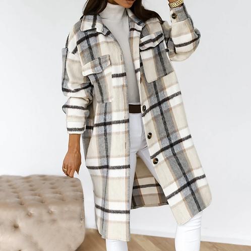Checkered Long Woolen Coats