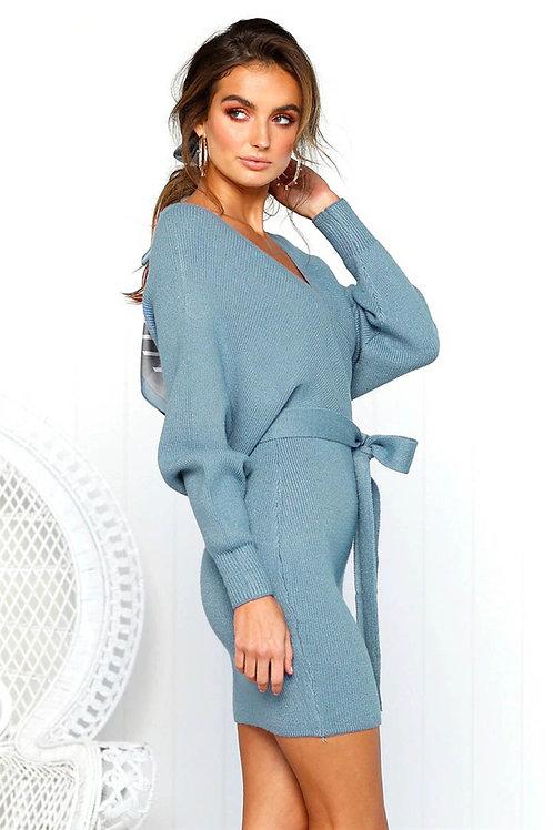 Winter Casual Dress Knitted V-Neck Mini Dress