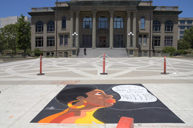 Megan's chalk painting with Courthouse Museum
