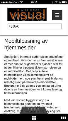 Bildet viser skjemkopi av webside som er mobiltilpasset.