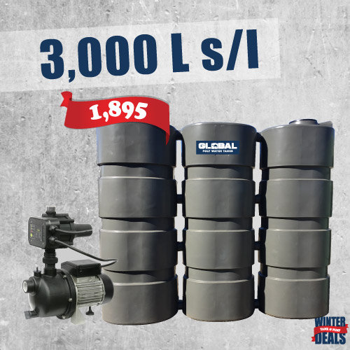 3,000L Slim Line Poly Tank and Pump Deal