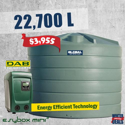 22,700L Tank + DAB-Esybox Mini3 Pump Package
