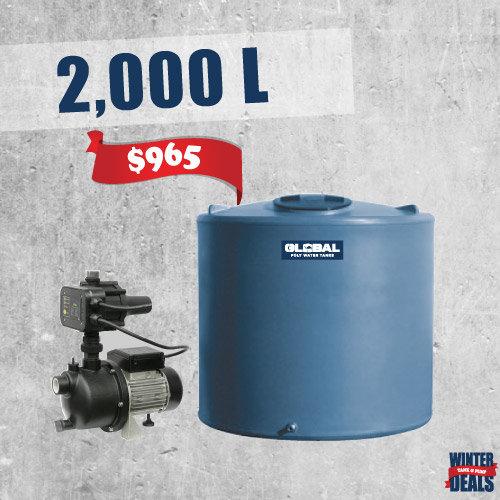 2,000L Poly Tank + Garden Pump Package