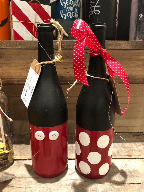Custom Hand-Painted Wine Bottles- Set of 2