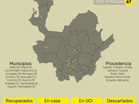 En Medellín hay 43 casos y los 24 restantes están distribuidos en diferentes municipios