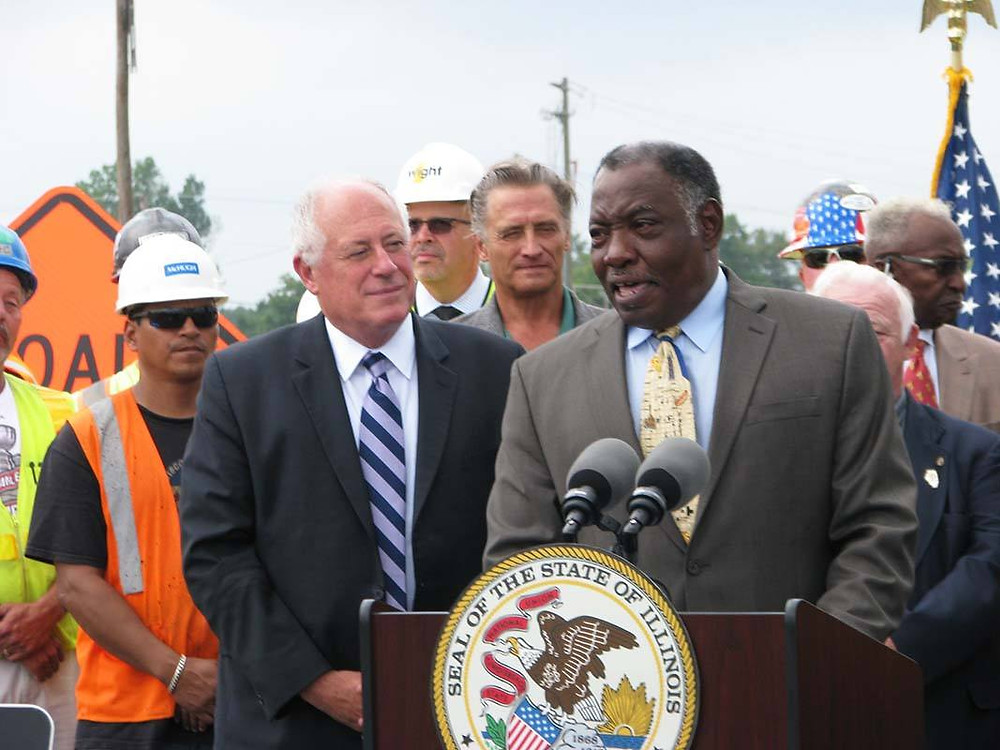 Gov. Quinn with Lynwood Mayor Gene Williams at a July 2014 road-rail separation ground breaking ceremony in Lynwood.