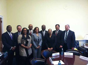 From left: State Reps. Marcus Evans, Larry Walsh Jr., Sen. Toi Hutchinson, Rep. Will Davis, U.S. Rep. Robin Kelly,  State Rep. Al Riley, State Sen. Jacqueline Collins, State Rep. Anthony DeLuca and SSMMA Executuive Director Edward Paesel