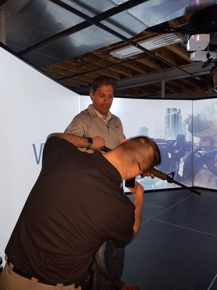 Photo courtesy of Ill State Rep. Anthony DeLuca who joined South Suburban Chiefs of Police to experience real-life, fully immersive, multi-directional police training.