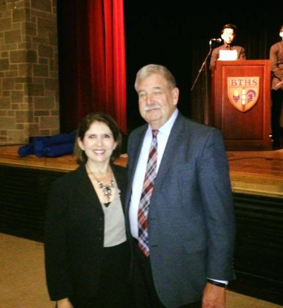 Lt. Gov. Evelyn Sanguinetti and SSMMA Executive Director Edward Paesel at Manufacturing Day 2015 at Bloom High School in Chicago Heights. Photo courtesy of Evelyn Sanguinetti's Office.