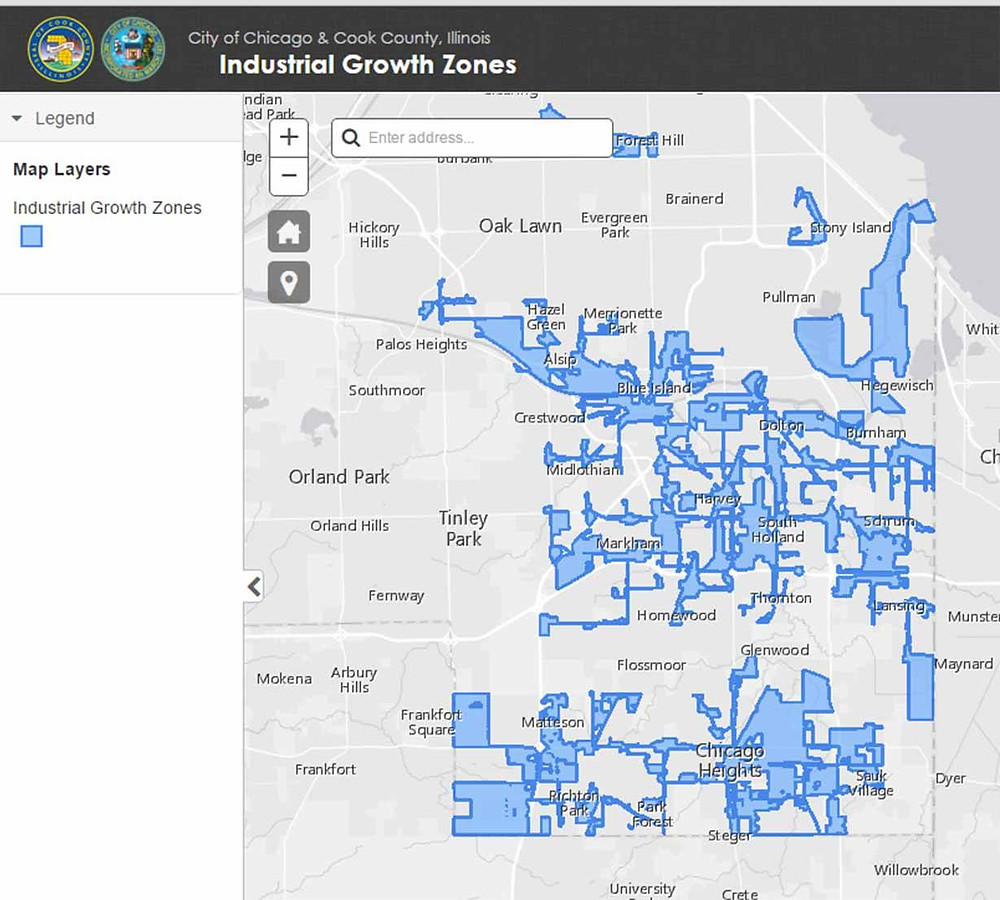 Industrial growth zones map