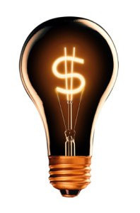bulb with spiral in the manner of sign of the dollar