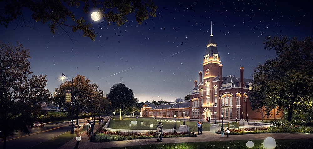 An artist's rendering of the Pullman visitors center at night - ADRIAN SMITH + GORDON GILL ARCHITECTURE