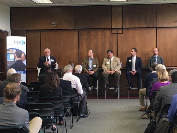 Panelists at the May 10 Mayors for Manufacturing & On the Table event at Prairie State College. Photo courtesy of the Technology and Manufacturing Association.