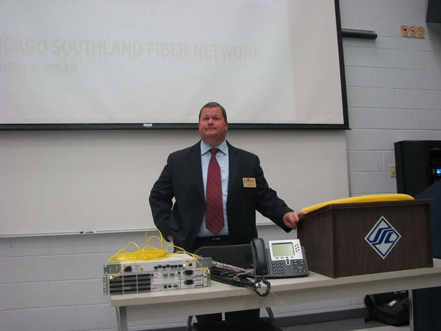 CSFN Chairman of the Board and Park Forest Village Manager Tom Mick welcomes workshop participants at South Suburban College.