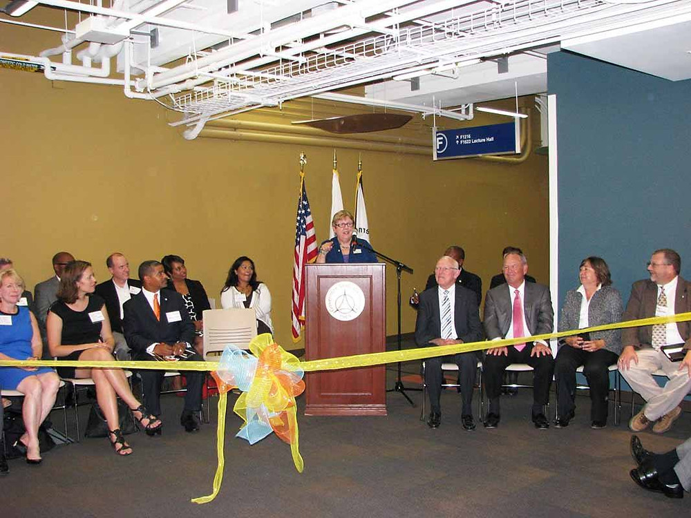 Dr. Elaine P. Maimon at a September 2014 Science and Technology Wing ribbon-cutting ceremony.