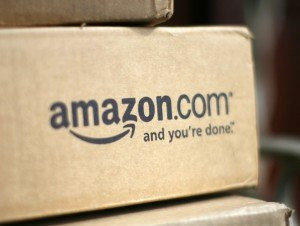 File photo of a box from Amazon.com on the porch of a house in Golden
