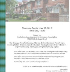 Sept. 12: Fair housing training on new Illinois State Law and the Cook County Just Housing Amendment