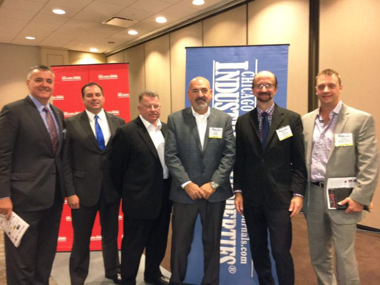 """The 13th Annual CIP Transportation & Logistics Conference """"Development & Construction Trends"""" panel on Oct. 27, pictured left to right: Brian Liston, Liston & Tsantilis P.C.; Steve Golumbeck, PEAK Construction; Dan Zuerner, Garmong Construction Services; Fred Johanns, FCL Builders; Reggie Greenwood, Chicago Southland Economic Development Corp.; and Nathan Bryant, Spring Creek Development Group."""