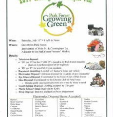July 15: Park Forest Growing Green Recycle Fest