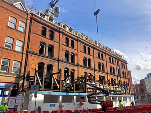 The facade on George's Street continues to be revealed as removal of temporary propping progresses