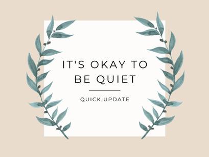 Quick Update – It's Okay To Be Quiet …