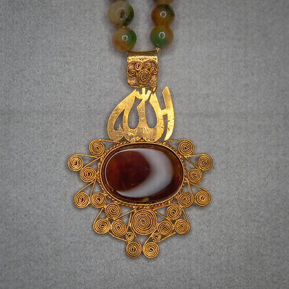 Agate calligraphy pendant