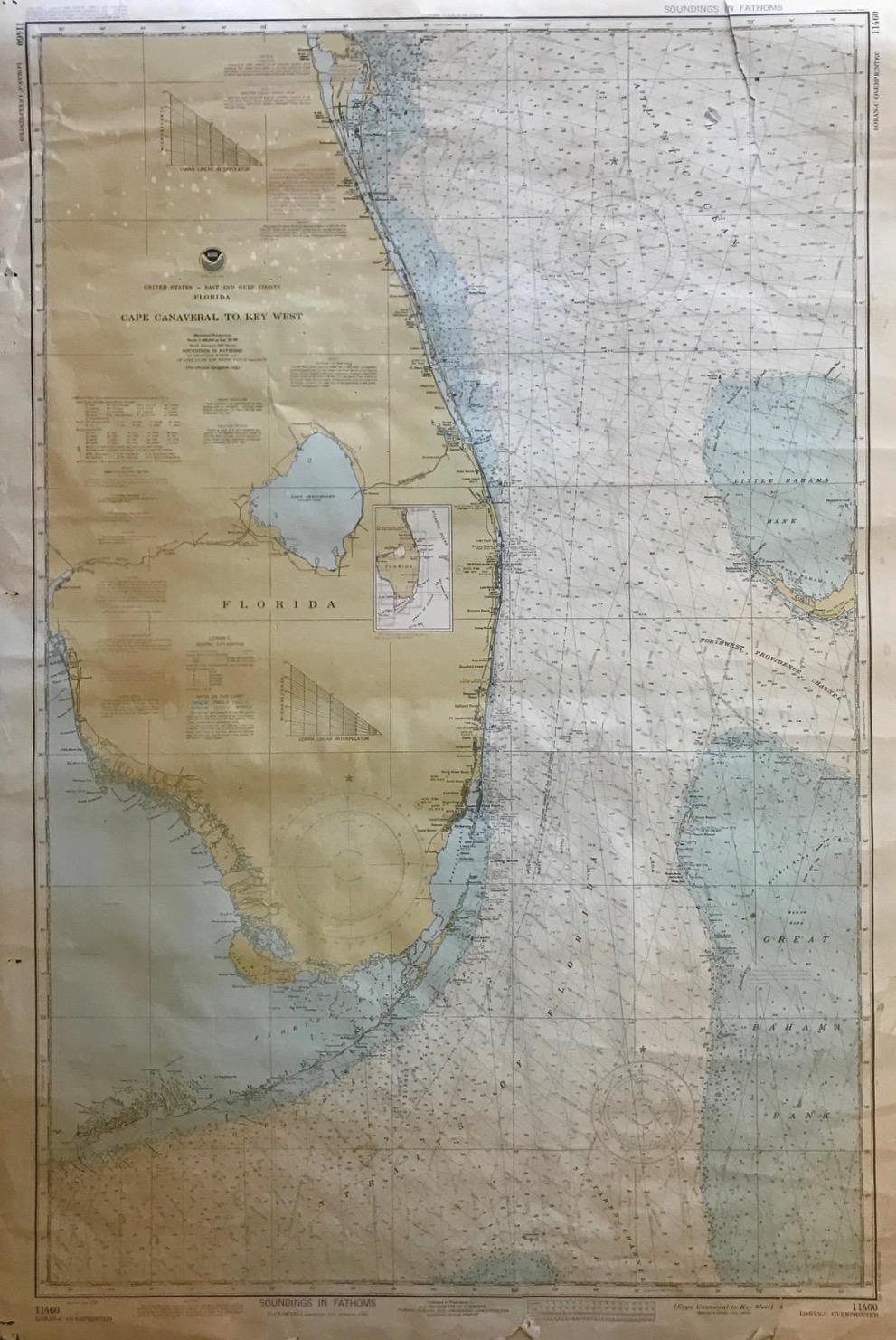 Vintage 1978 nautical chart