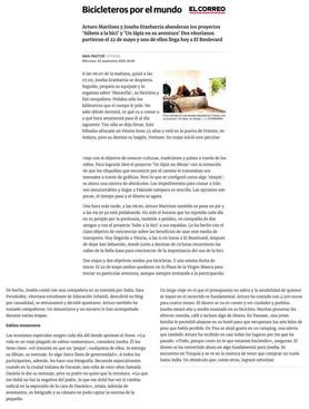 Reportaje en el diario El Correo sobre la vuelta al mundo en bicicleta del fotógrafo humanitario Joseba Etxebarria.