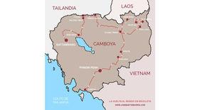 Mapa de Camboya con la ruta seguida por el fotógrafo humanitario Joseba Etxebarria durante su vuelta al mundo en bicicleta.